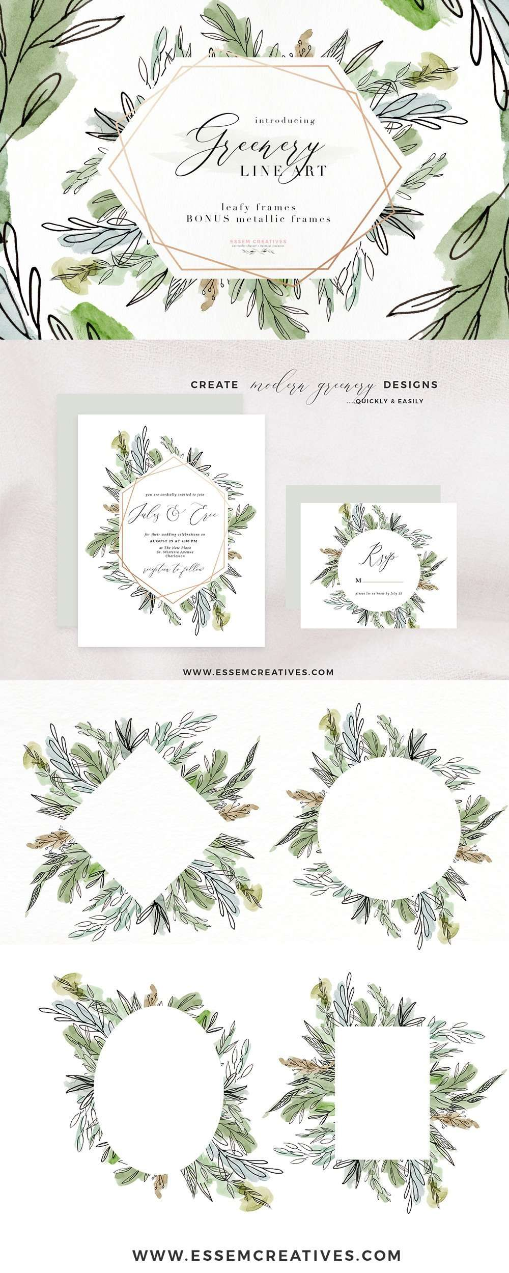 Watercolor Greenery Line Art PNG Clipart, Tropical Rustic Botanical Wedding Invitation Logo Branding | Perfect for Watercolor wedding invitations, save the date, bridal shower party, baby shower decor, greenery wedding tropical wedding woodland decor, rustic fine art modern botanical illustrations, scrapbooking paper, greenery borders. CLICK to see more and start creating>>