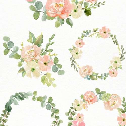 Watercolor Wreath PNG Clipart, Watercolor Flowers Bouquet Background, Floral Wreath PNG | Use these for watercolor wedding invitations, bridal shower invitations, table numbers, place cards, wedding welcome signs, birthday party invitations and more. Commercial use included. Click to see>>