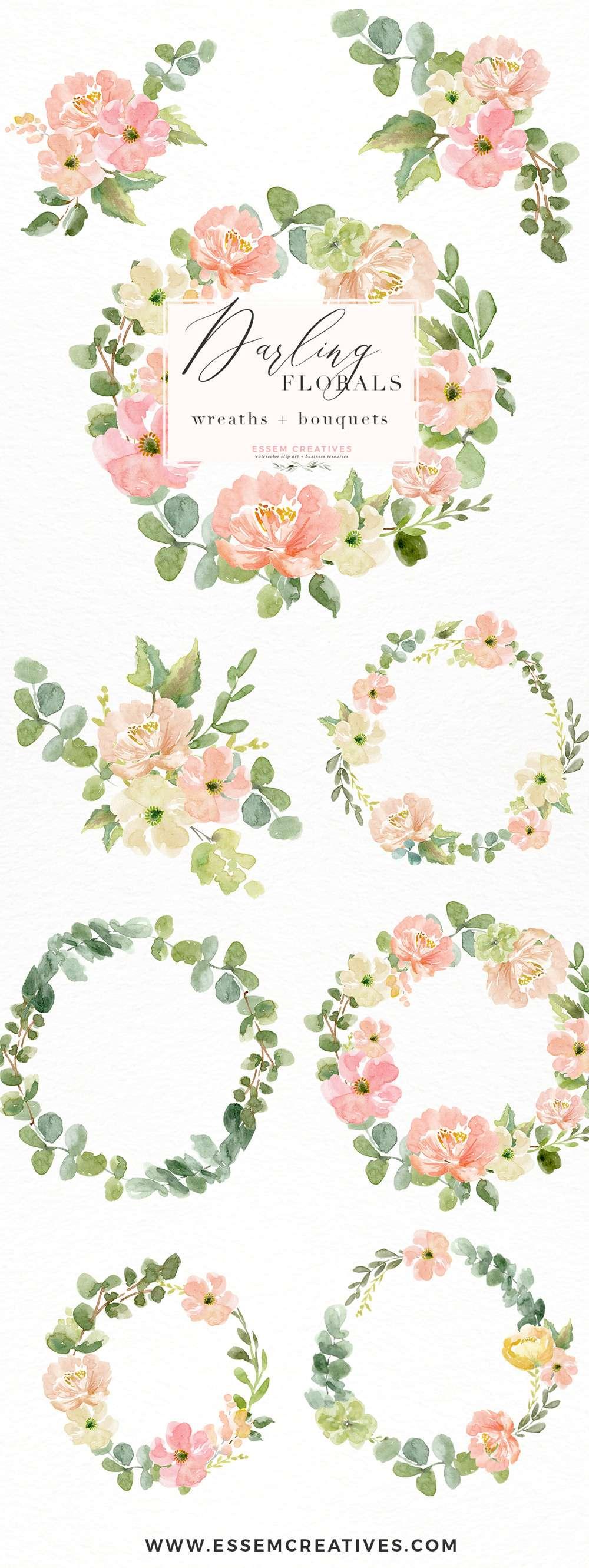 Watercolor Wreath PNG Clipart, Watercolor Flowers Bouquet
