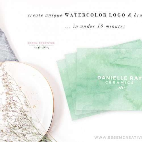 Seafoam watercolor abstract business cards, DIY feminine stationery and logos, watercolor calling cards, DIY small business logo and branding, social media branding, modern mint watercolor splash logo design. Click to see more>>