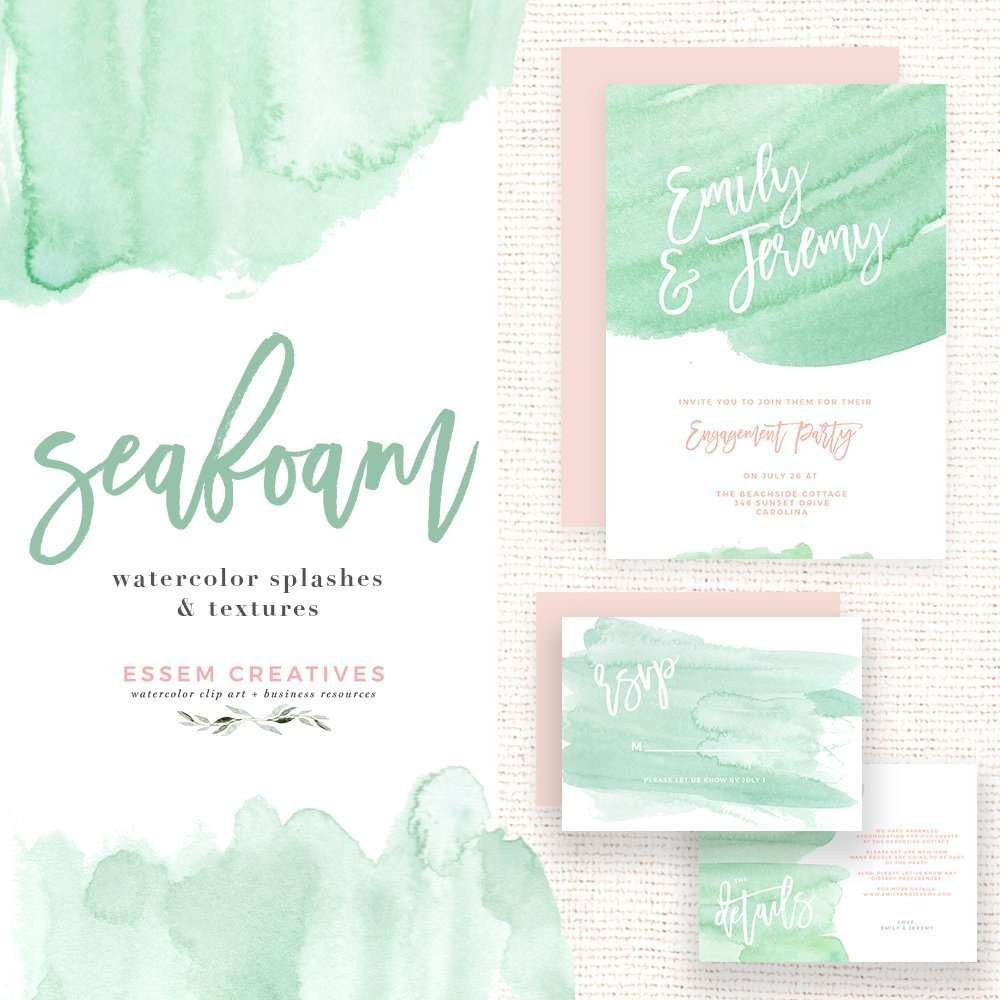 Seafoam Watercolor Splash Clipart for Party Invitations | Essem ...