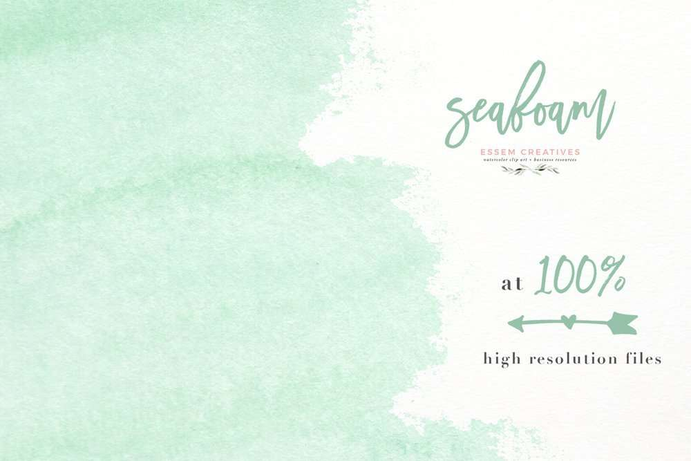 seafoam watercolor splash clipart for party invitations