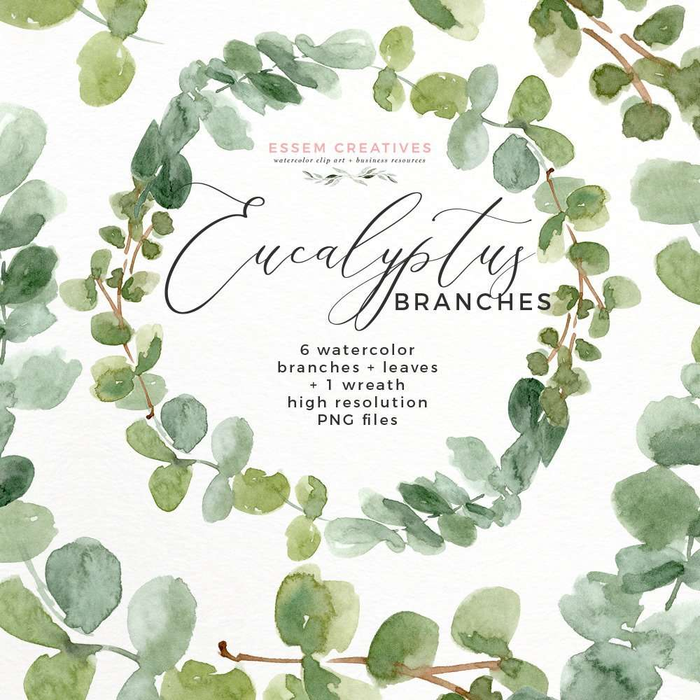 Watercolor Eucalyptus Wreath Branches Clipart PNG 1 | Watercolor eucalyptus leaves wreath invitation | Bridal Shower Invitation Template Design | Watercolor Greenery Baby Shower Invites | Eucalyptus Branches Watercolor Wedding Invitations | Modern Cute Feminine Watercolor Logo and Branding for Creative bloggers shops and small business owners. Commercial Use PNG Clipart. Click to see more>>