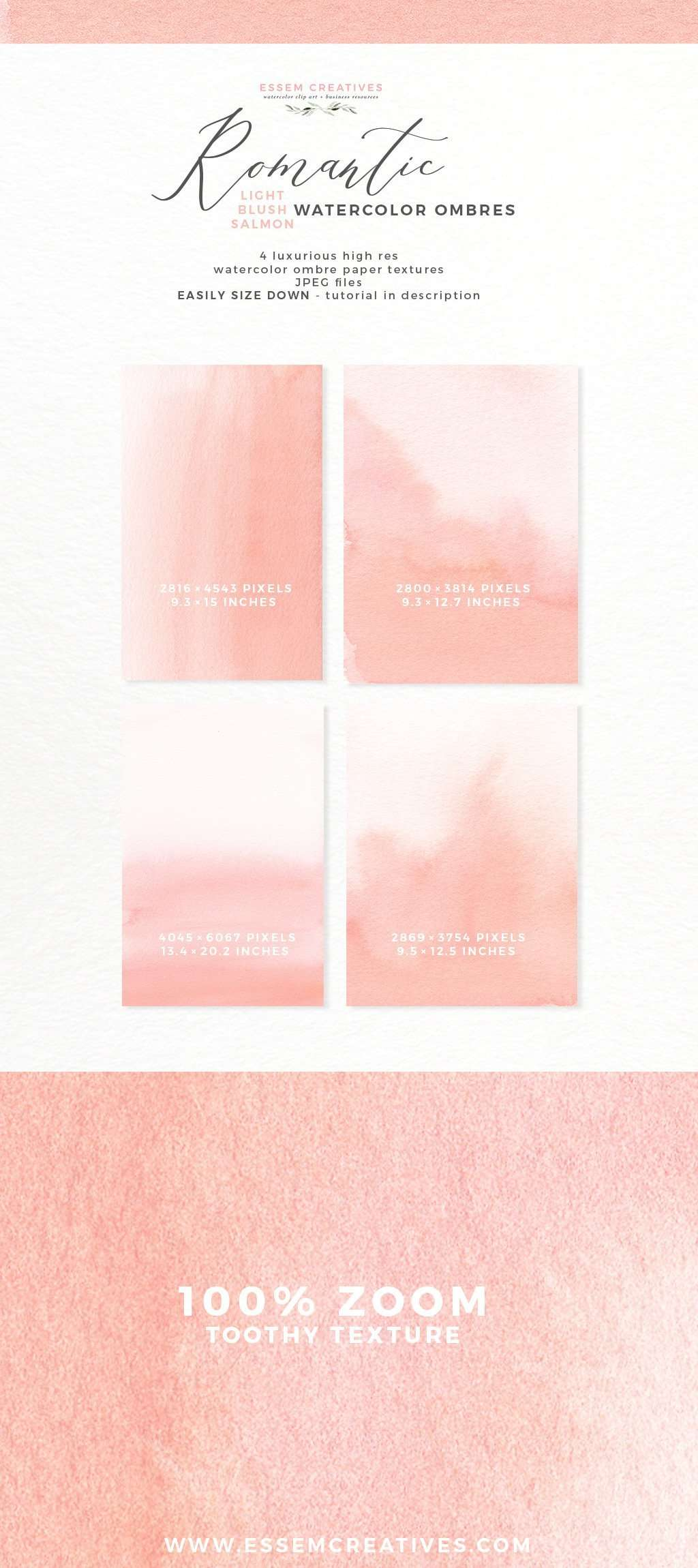 Blush Pink Watercolor Ombre Background | Blush Salmon Digital Papers for Save the Date Wedding Invitations Essem Creatives | Use these luxurious romantic delicate and wispy watercolor textures to create your own modern stationery & wedding paper. You can now create one of a kind enchanting whimsical abstract watercolor designs in under 10 mins. Instant download also available for commercial use. Click to see more>>