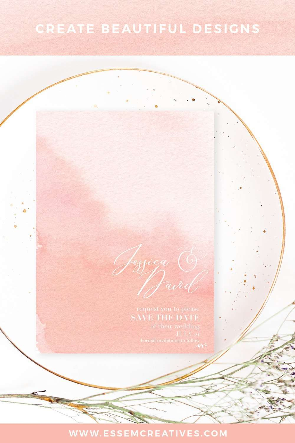 Blush Watercolor Ombres Background For Wedding Invitations Essem Creatives