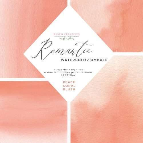 Coral Watercolor Background | Blush Pink Digital Papers | Peach Pink Abstract Watercolour by Essem Creatives | Use these romantic luxe watercolor splashes and backgrounds for invitations, social media designs for Instagram posts and Pinterest backgrounds and also for your website header graphics and to prettify your blog. You can make modern watercolor wedding invitations, bridal shower invites and more. INSTANT download item. Start creating now by clicking>>