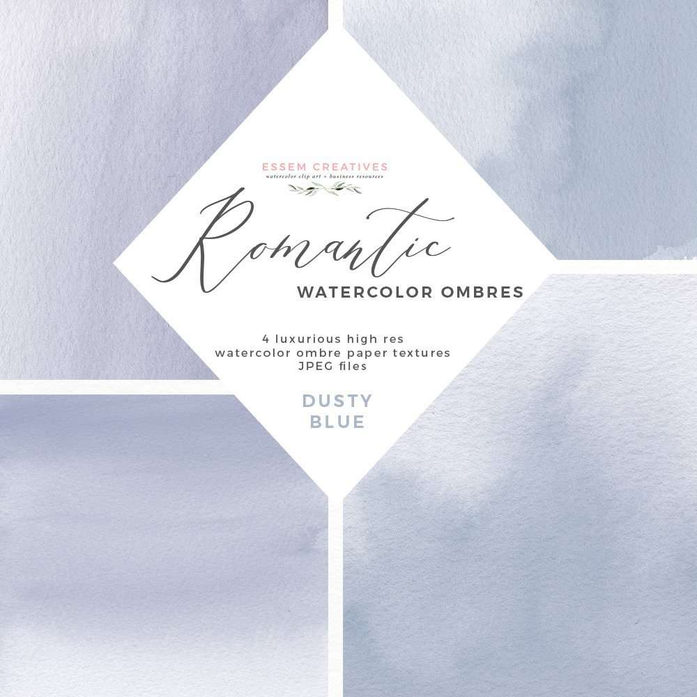 Dusty Blue Watercolor Backgrounds Splashes | Make your own affordable romantic luxe dusty blue watercolor wedding invitations, table numbers, welcome signs, unplugged ceremony sign, place cards, bridal shower invites, bridesmaids proposal box gift labels, favor tags, birthday party invites, logo and website branding and more. Instant download & commercial use graphics. Click to see more>>