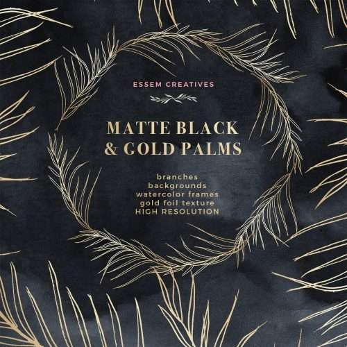 Matte Black Tropical Gold Palms Art Deco Watercolor Theme Design Kit for Wedding Invitations & Stationery by Essem Creatives | Use these for your art deco theme wedding, starry night wedding invitation, night sky tropical save the dates, birthday party invitations, classic luxurious rich black and gold branding and design projects. Instant download & Commercial use. Click to see more>>