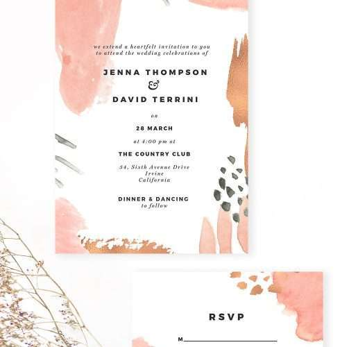 Modern Abstract Pink and Rose Gold Wedding Invitation and RSVP Suite | You can design this suite in under $10 and 10 minutes using software you already have. Are you ready? Click to see more>>
