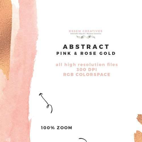 Modern Abstract Pink and Rose Gold Watercolor Design Kit Essem Creatives | Use these modern watercolor abstract clipart designs to create your own DIY Wedding Stationery, save the date and more. Perfect for modern unique graphic design projects. Will also work great for branding. Download now and start designing. Click to see more>>