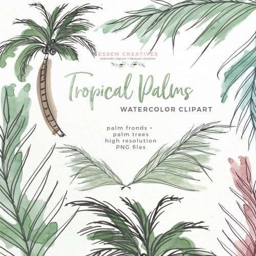 Tropical Palm Trees Fronds Leaf Print Clipart | Watercolor Beach Hawaii Island Greenery Jungle Theme Party Invitations
