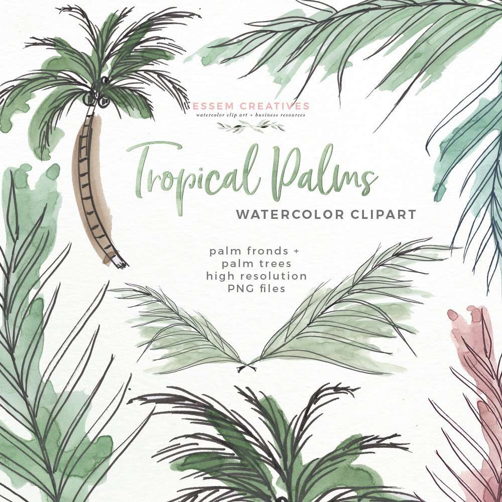 Tropical Palm Trees Fronds Leaf Print Clipart | Watercolor Beach Hawaii Island Coastal Jungle Theme Party Invitations Essem Creatives | Perfect for tropical theme birthday party invitations, tropical beach vibe bridal shower invites and party games, tropical wedding invitations, summer party favors gift tags and more. Instant download so you can start designing now. Click to see more>>