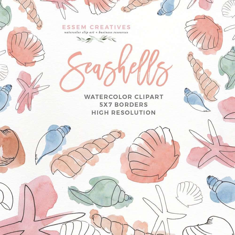 Watercolor Seashells Clipart Under The Sea Birthday Party Essem