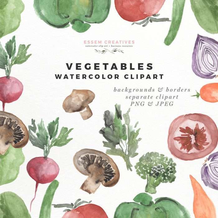 Watercolor Vegetables Clipart for Menu Food Blog Branding Essem Creatives | Instant Download, you can start with your project immediately. Click to see more>>