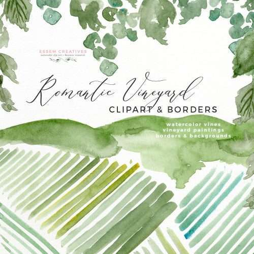 Watercolor Vineyard Landscape Wedding Invitation | Grapevines Grapes Vines Wine Label Wine Country