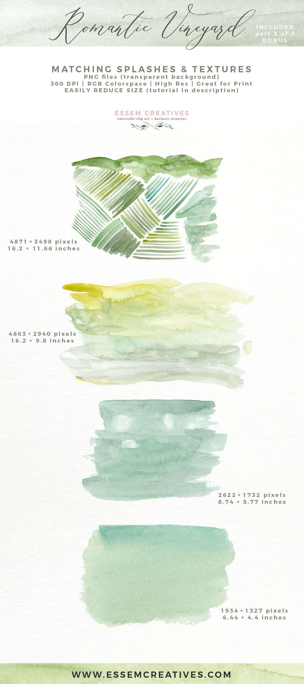 Watercolor Vineyard Landscape Wedding Invitation Clipart | Essem ...