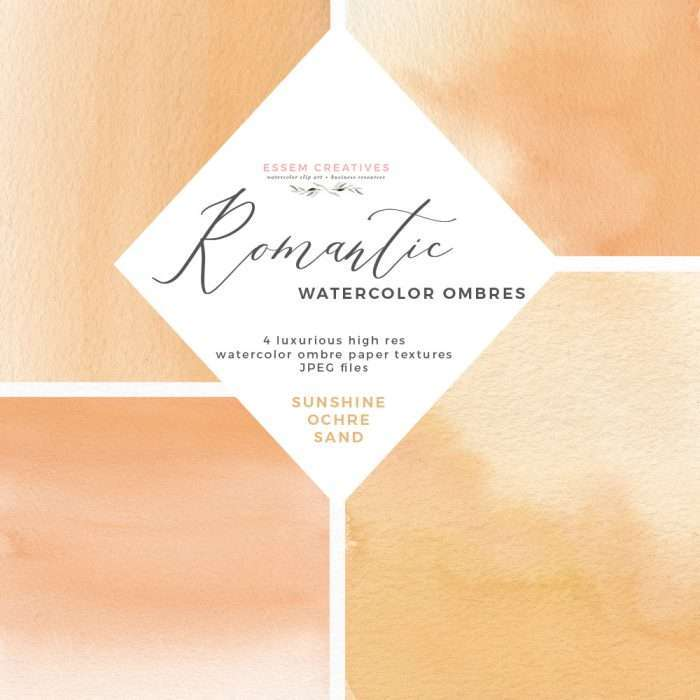 Watercolor Yellow Ochre Sand Abstract Ombres Textures Splashes and Backgrounds by Essem Creatives | These gorgeous colorful modern watercolor digital papers are perfect for save the dates, wedding invitations, planner stickers and covers, table numbers, engagement guestbook covers, menu cards, place cards, bridal shower favor tags and more. Use these in kids birthday party invites or print as is for a piece of abstract wall art for your home. Instant download & also available for commercial use. Click to see more>>