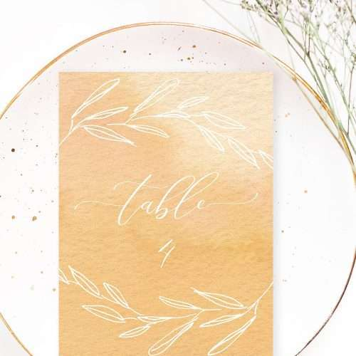 Romantic Watercolor Ombre Table Numbers with Calligraphy | Watercolor Yellow Ochre Sand Abstract Ombres Textures Splashes and Backgrounds by Essem Creatives | These gorgeous colorful modern watercolor digital papers are perfect for save the dates, wedding invitations, planner stickers and covers, table numbers, engagement guestbook covers, menu cards, place cards, bridal shower favor tags and more. Use these in kids birthday party invites or print as is for a piece of abstract wall art for your home. Instant download & also available for commercial use. Click to see more>>