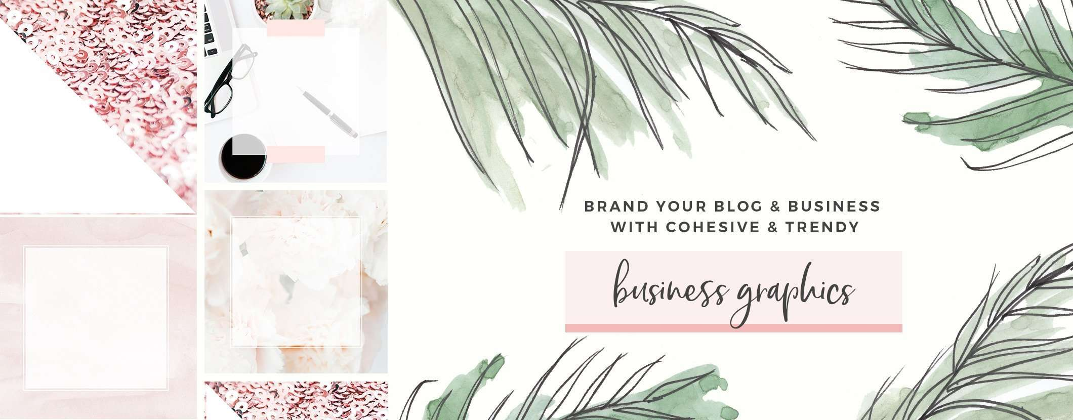 feminine blog branding kit graphics watercolor stock photos pretty girly modern high end branding affordable