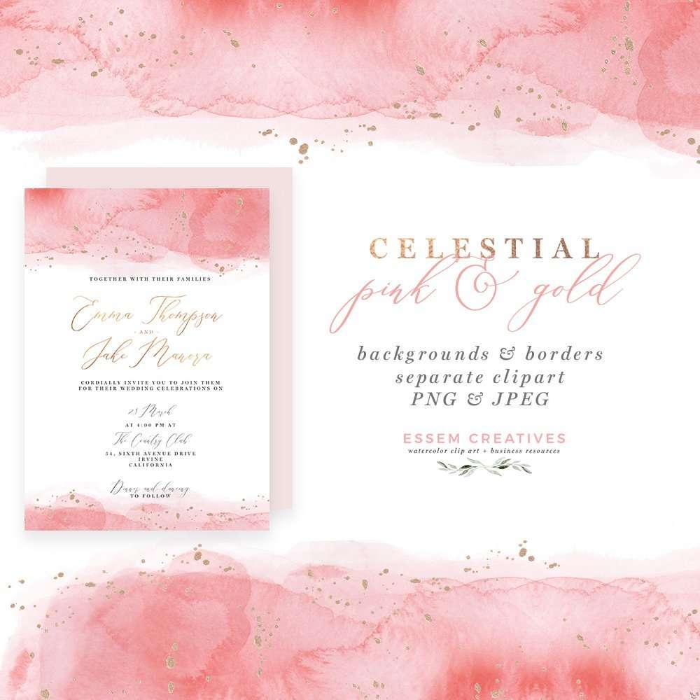 Background For Wedding Invitation: Celestial Pink And Gold Watercolor Wedding Invitation