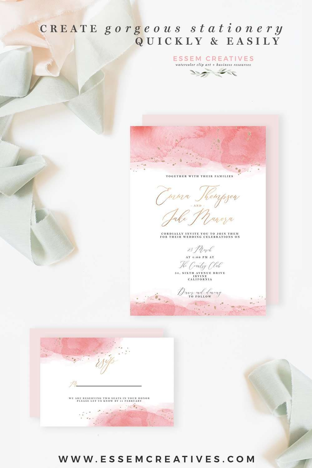 Celestial Pink and Gold Watercolor Wedding Invitation Template ...