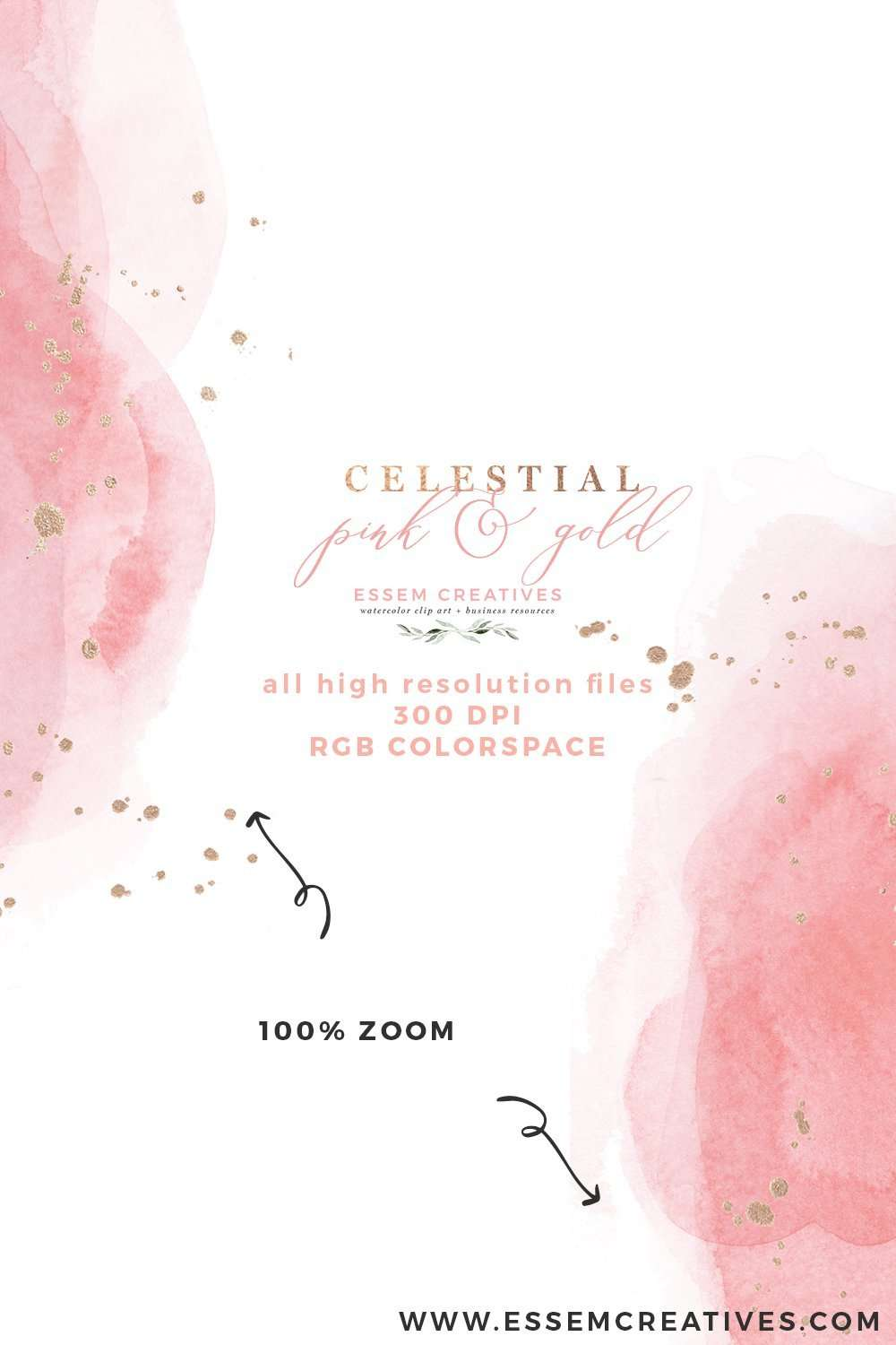 Celestial Pink And Gold Watercolor Wedding Invitation Template