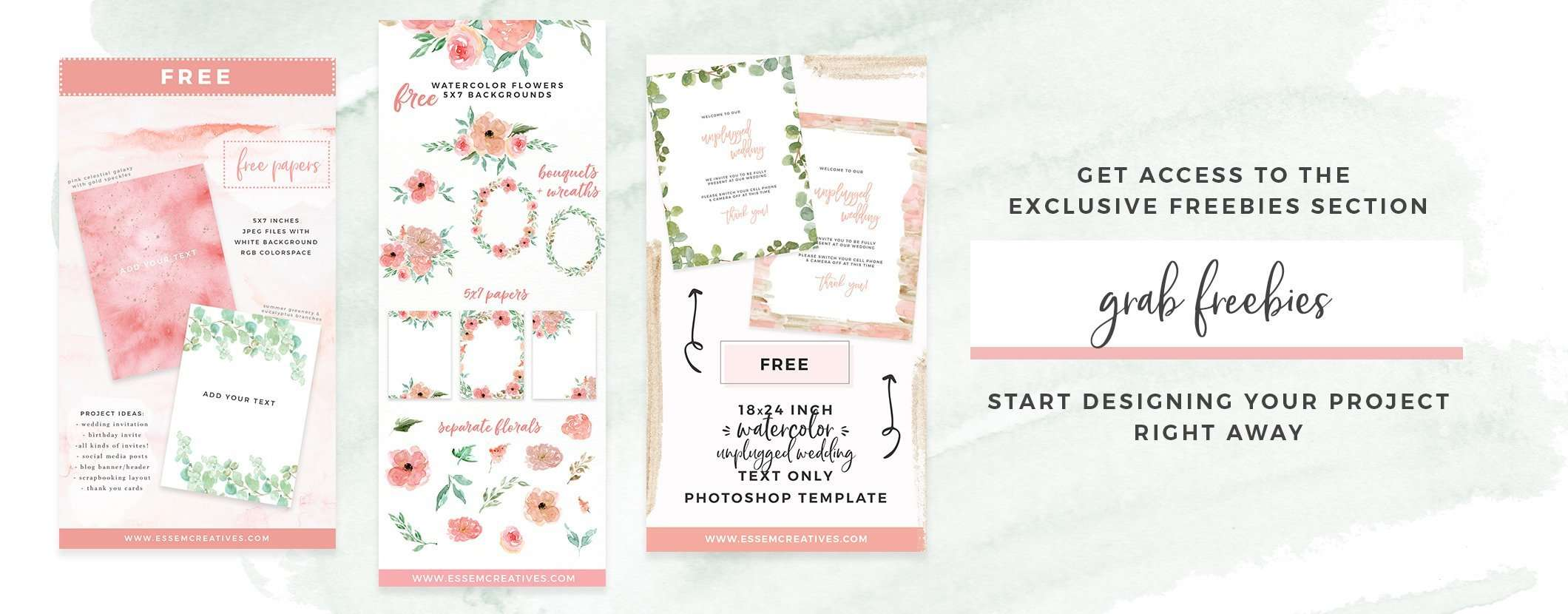 Free watercolor flower clipart, free wedding invitation template, free watercolor backgrounds & borders