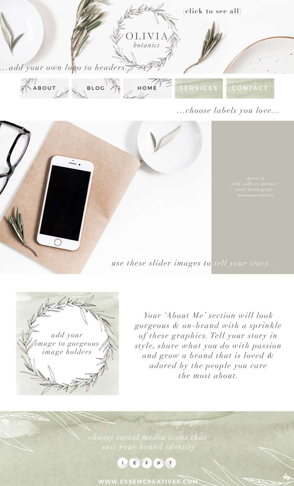 Are you starting a new blog and want to get the perfect neutral high end minimal branding done just right? Then look no further. This BOTANIC Neutral Website Blog Branding Kit is perfect for bloggers and small businesses - includes blog headers banners, social media icons, custom buttons, slider images and more. Watercolor accents and greenery accents included. Click to see more>>