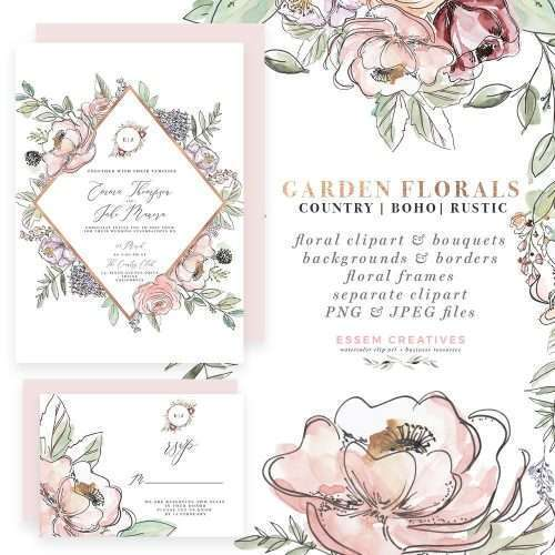 Garden Wedding Invitations, Watercolor floral invitation suite, Country Farmhouse Cottage Floral Clipart, Watercolor Floral Frames, Digital Flower Borders for Invitation, bridal shower invites, bridesmaid proposal cards, gift tags and thank you notes, wedding favor tags, save the dates, birthday invitations, wall art decor, nursery floral prints, botanical prints for home decor, floral logos branding and more. Instant download item. Click to see more>>