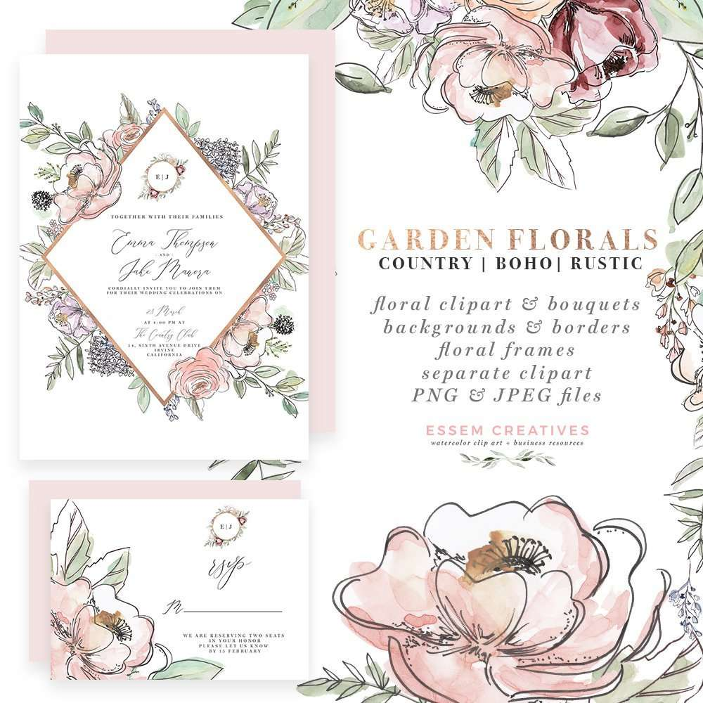 Garden Wedding Invitations Watercolor Floral Invitation Suite Country Farmhouse Cottage Clipart