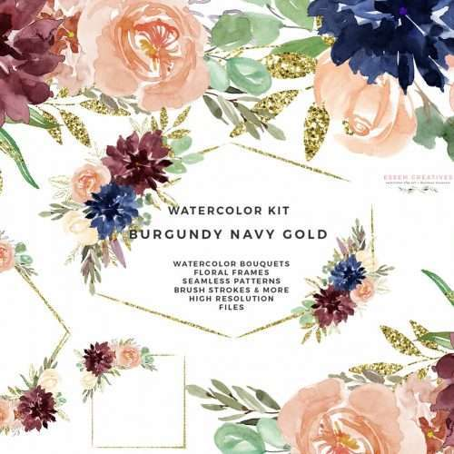 Burgundy Watercolor Wedding Invitation Clipart, Burgundy Navy Gold Watercolor Flowers Clipart, Gold Glitter Geometric Frames, Fall Floral Bouquets & Borders, Brush Strokes Clipart, Floral Seamless Patterns & Digital Paper Pack. Perfect for invitations, birthday parties, home decor, wall art, logo & branding, scrapbooking & more. Click to see>> #burgundyandgold #navyandgold #weddinginvitations #burgundywedding #falldecor