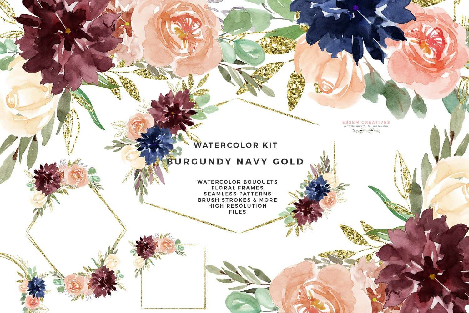 Burgundy Watercolor Wedding Invitation Clipart Navy Gold Flowers Glitter Geometric