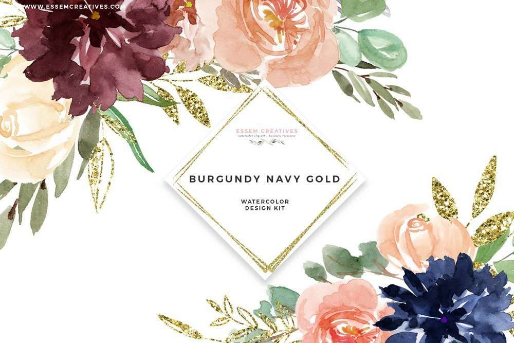 Burgundy Navy Gold Watercolor Flowers Clipart, Geometric Gold ...