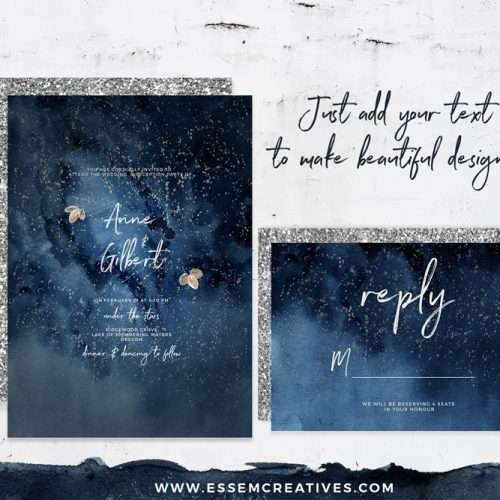 Celestial Starry Night Sky Wedding Invitation Clipart, Navy Blue and Gray Watercolor Splash Texture Clipart, Gold and silver stars moon clipart, Space theme, Milky way Galaxy clipart, Night in the Woods Graphics, Under the Stars Birthday Party Invitation Graphics. Click to see more>> #starrynight #nightsky #celestial