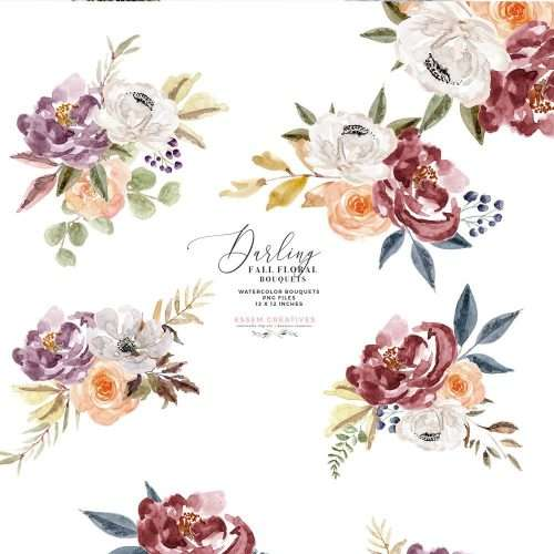Burgundy Watercolor Floral Clipart for Wedding Invitations, Thanksgiving Cards & Fall Designs | Rose Gold Geometric floral frames and shapes graphics, floral bouquets and borders for cards logos branding etc., separate flowers leaves branches elements, flower graphics in burgundy marsala deep maroon navy purple orange and fall colors. Burgundy peonies & white anemonies Clipart #watercolorclipart #burgundywedding #watercolorflowers #fallwedding #falldecor #thanksgivingdecor