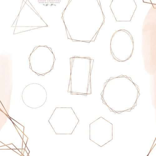 Empty Rose Gold Geometric frames and shapes as hexagon, rectangle, octagon, overlapping shapes & more. Perfect for DIY crafts projects.