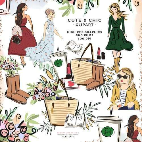Cute and Chic is a set of fashion girl illustrations. These fashion illustrations & drawings include cute & pretty girls wearing fall clothes and accessories like tote bag, farmers market bag, floral bouquet, starbucks coffee cup, autumn boots, an open book or journal, lipstick, iphone - the essentials! Perfect for scrapbooking, planner accessories & stickers, fashion blogger logo and branding. Click to see more>>