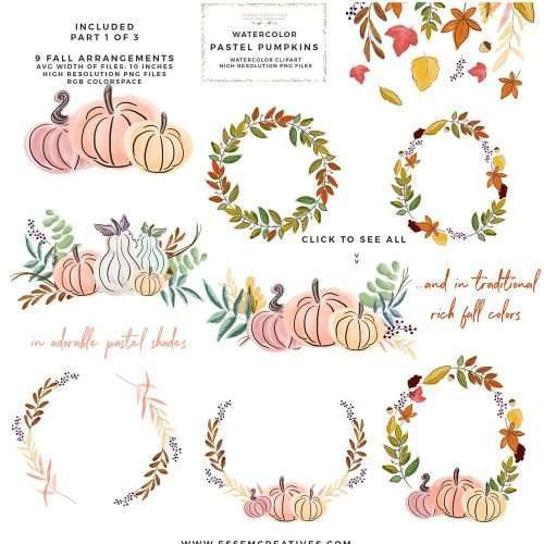This is a set of fall pumpkins, pumpkin vases & autumn leaves and wreaths clipart set. This set has been hand painted in a soft, pastel shades and also rich traditional autumn colors. This set includes separate pumpkins, fall leaves and wreaths, floral pumpkin vases and also a bonus card background. These will be perfect for thanksgiving invitations, fall decorations, halloween party invites & decor, planner sticker spreads, planner dashboards & accessories, thanksgiving gift tags & name cards, fall wall art prints. Click to see more>>