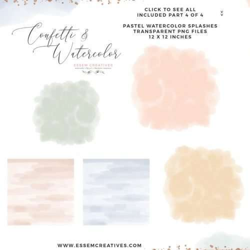 This is a set of soft, airy & delicate watercolor splashes, paint brush strokes & textures with modern rose gold geometric polygonal shapes, and also some confetti accents. The watercolor textures come in girly romantic shades such as blush, dusty pink, dusty blue, aqua teal, greenery and mustard. Also included are watercolor geometric borders & digital paper backgrounds perfect for wedding invitations, table numbers, planner stickers, gift labels, name cards, welcome signs, birthday party invites, bridal shower designs. Click to see more>>