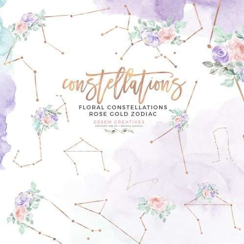 A set of Floral Zodiac Constellation Clipart featuring all 12 Zodiac Signs of Astrology. These are hand drawn rose gold signs with dreamy pastel florals. Perfect for several themes like Mystical, Zodiac, Celestial Starry Night Sky,  Magical Unicorn theme. Any theme with soft pastel colors like purple pink aqua teal and blush will work. Aries, Taurus, Gemini, Cancer, Leo, Virgo, Libra, Scorpio, Sagittarius, Capricorn, Aquarius and Pisces constellation sign clipart #constellations #zodiacsigns >>