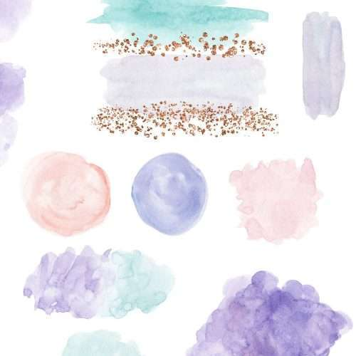 A set of MAGICAL watercolor paint brush strokes, splashes, textures with rose gold foil accents. Abstract strokes and backgrounds in pastel purple blush pink teal aqua and rose gold glitter. Perfect for magical fairtytale theme, unicorn, rainbow, winter theme projects. Use for feminine blog & website branding, planner stickers, scrap booking, fashion boutique, fashion blog, party decor, photography marketing, children's birthday party & baby shower sprinkle invites. #unicorn #rainbow #birthday
