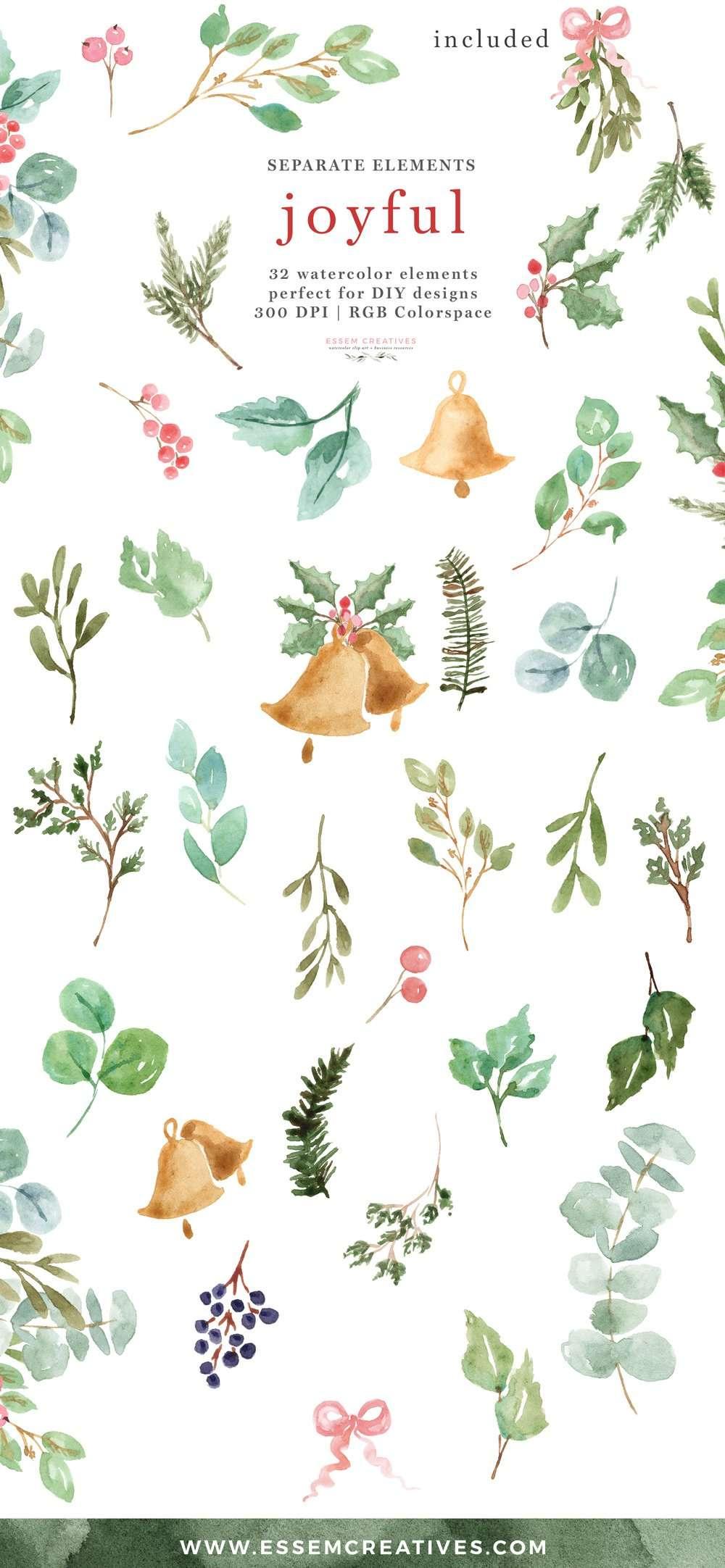 Watercolor Christmas Clipart Holly Eucalyptus Mistletoe ...