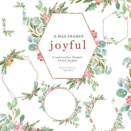 Watercolor Christmas Frames Clipart, Joyful Rose Gold Geometric Holiday Card Borders