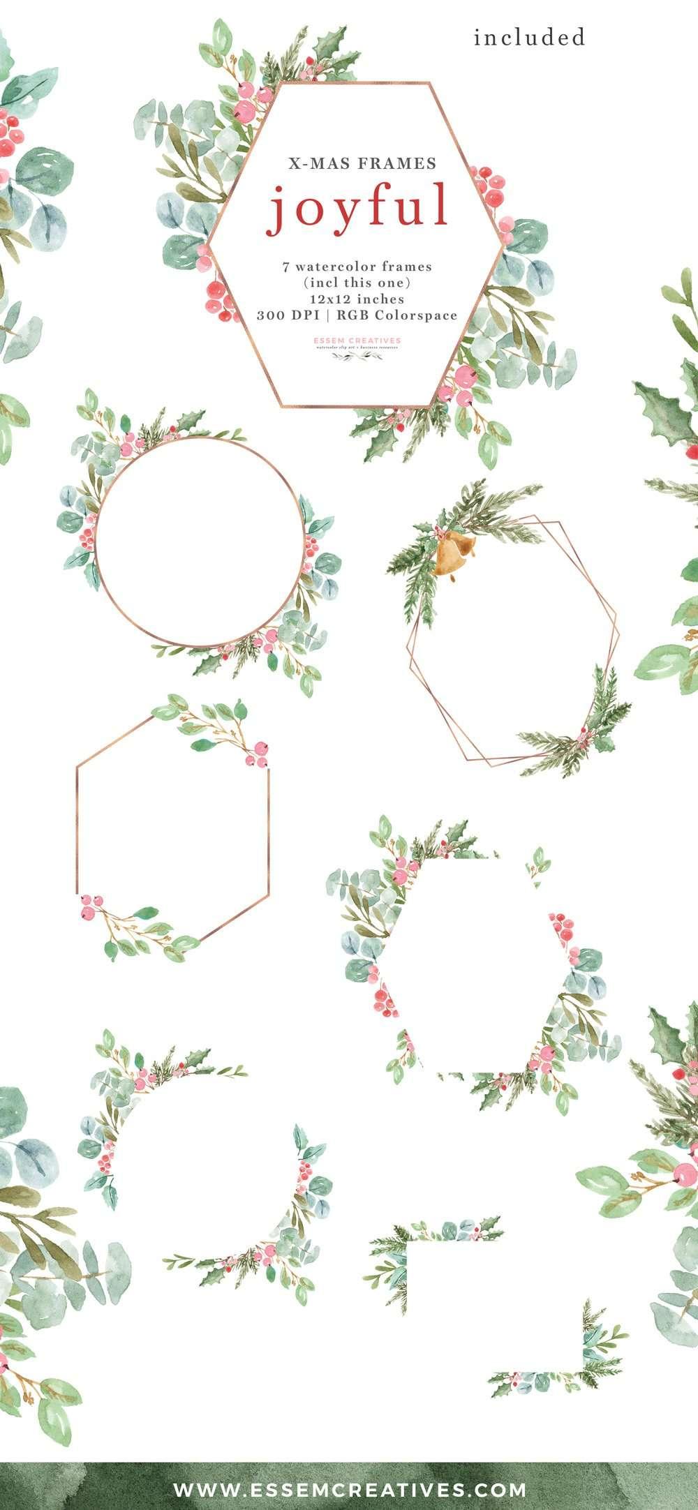 Christmas Frames Clipart Rose Gold Geometric | Essem Creatives