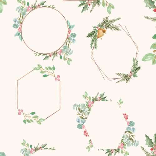 This is a set of digital Watercolor Christmas Geometric Frames Clipart set in a modern style and theme. It includes empty rose gold frames features holly jolly, eucalyptus greenery, mistletoe, pine and conifer branches which are perfect for christmas cards, christmas party invitations, gift tags & holiday greetings. Perfect for holiday cards, printable wall art for you home during the holidays, christmas gift tags, graphics for your shop for christmas sales season. Click to see more>> #christmas