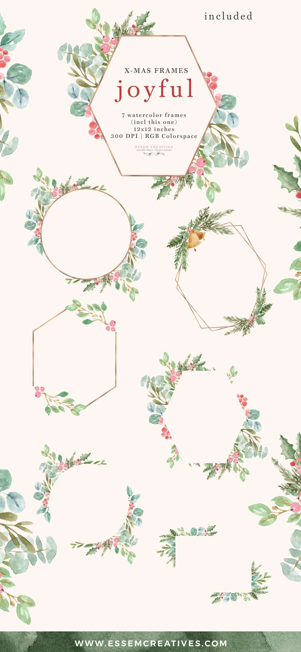 Christmas Frames Clipart Rose Gold Geometric | Essem Creatives