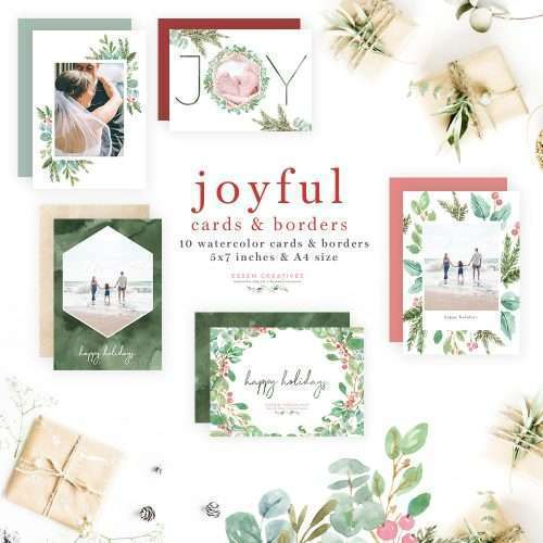 Watercolor Christmas Photo Card Template, Holiday Greeting Card Border & Backgrounds