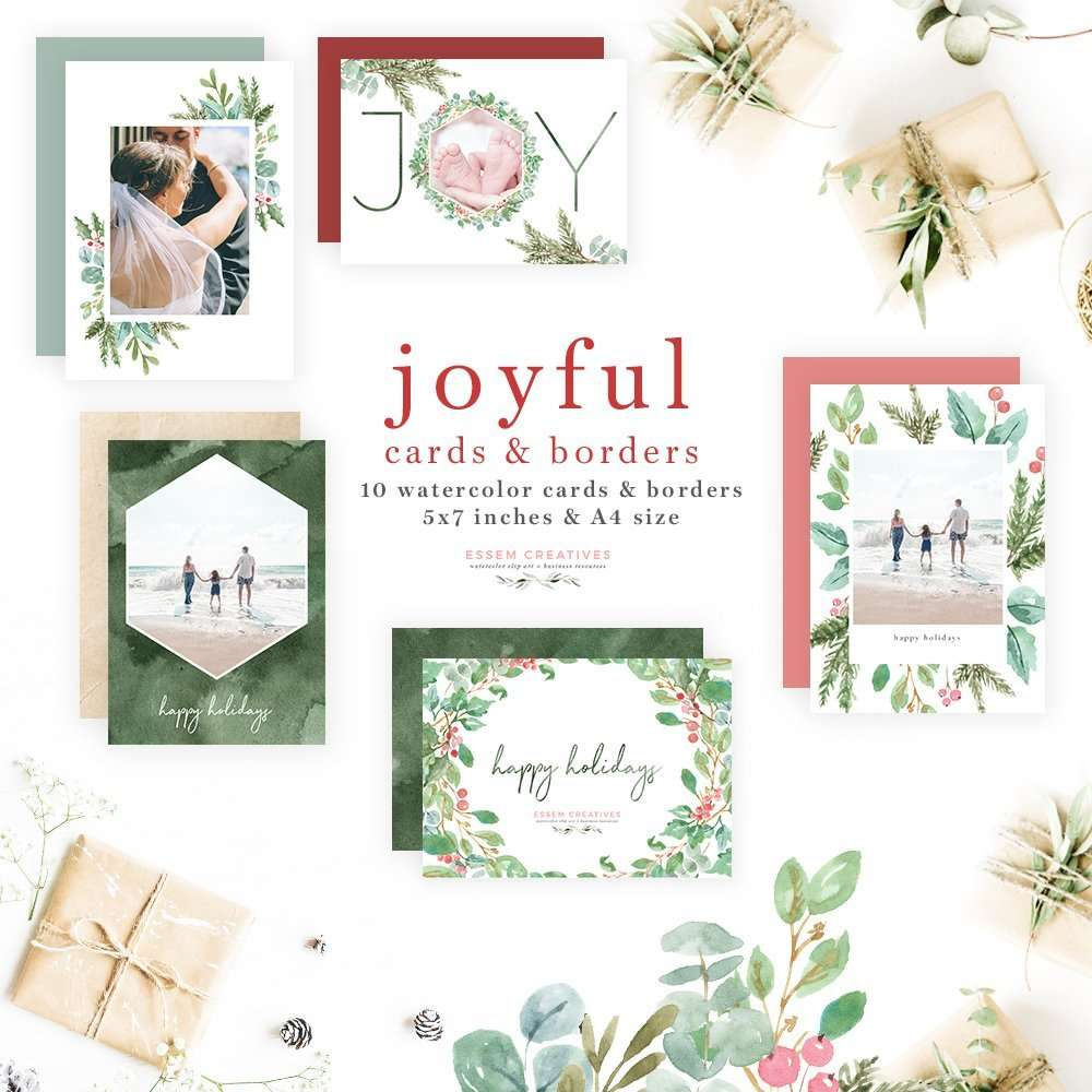 Watercolor Christmas Photo Card Templates Essem Creatives