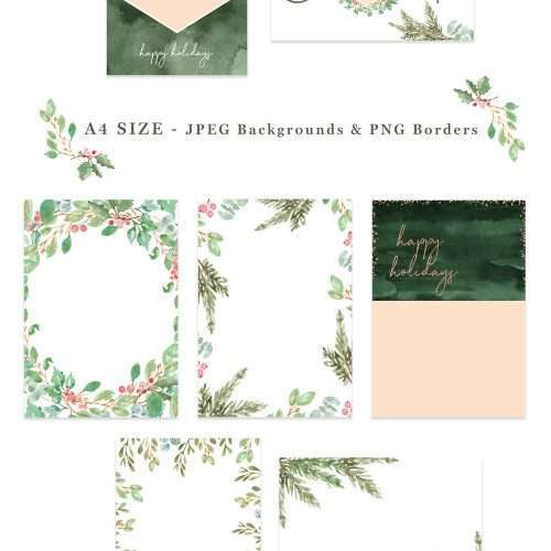 This is a digital watercolor christmas card borders & backgrounds set. It includes pre-made photo card templates & christmas card backgrounds & borders in 5x7 inches & A4 size. To create a christmas photo card easily, open your photo, drag and drop a PNG christmas photo card frame from this set on top, and voila! Video tutorial included. These christmas graphics have been hand painted in a modern watercolor style for elegant designs. Click to see more>> #christmascard #holidaycard #christmas
