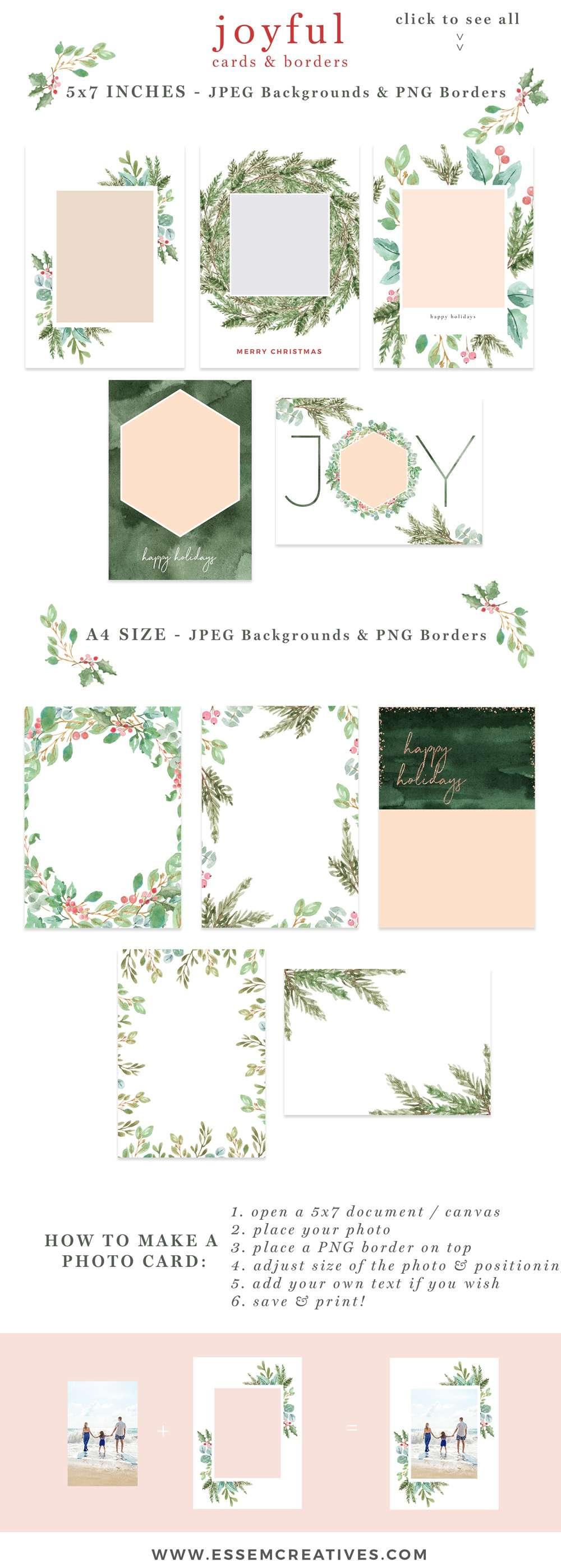 watercolor christmas photo card templates